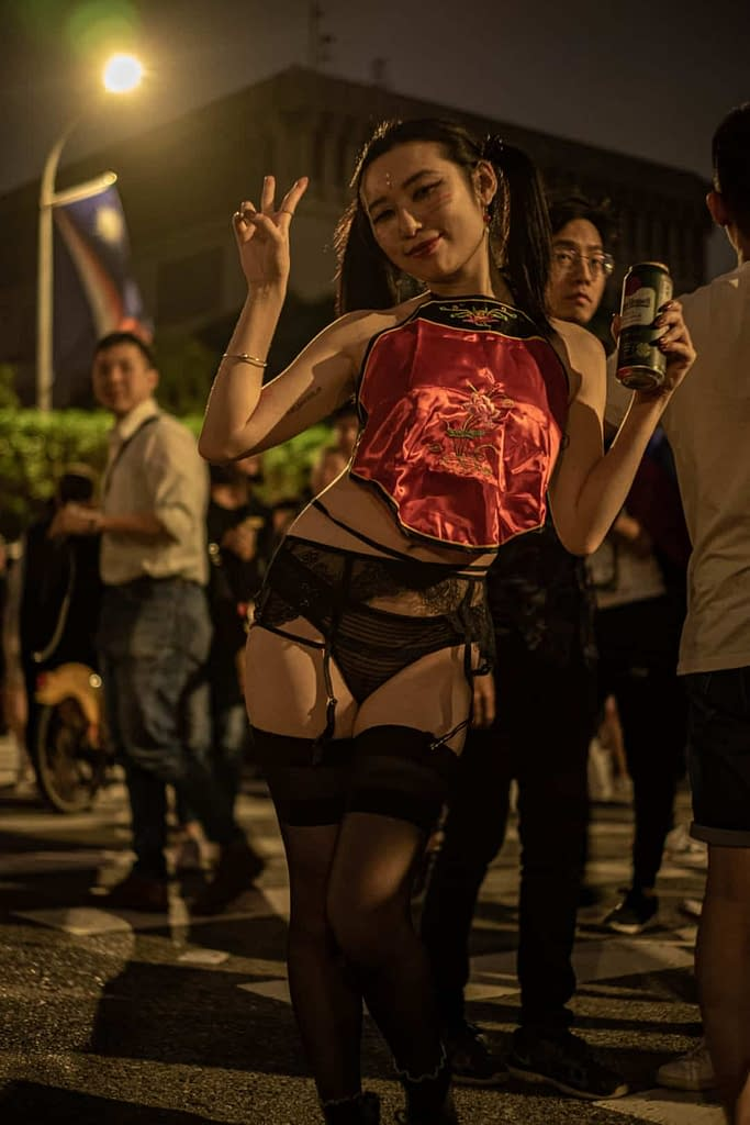 Woman dancing in red